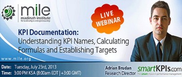 Free Webinar: KPI Documentation, July 23rd, 2013