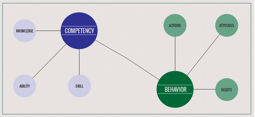 What is the difference between competencies and behaviors when establishing performance criteria?