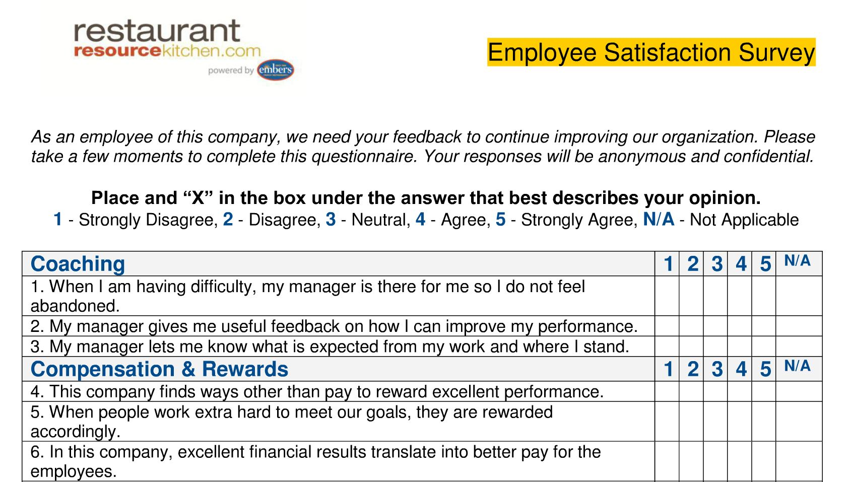 performance magazine employee satisfaction survey restaurant