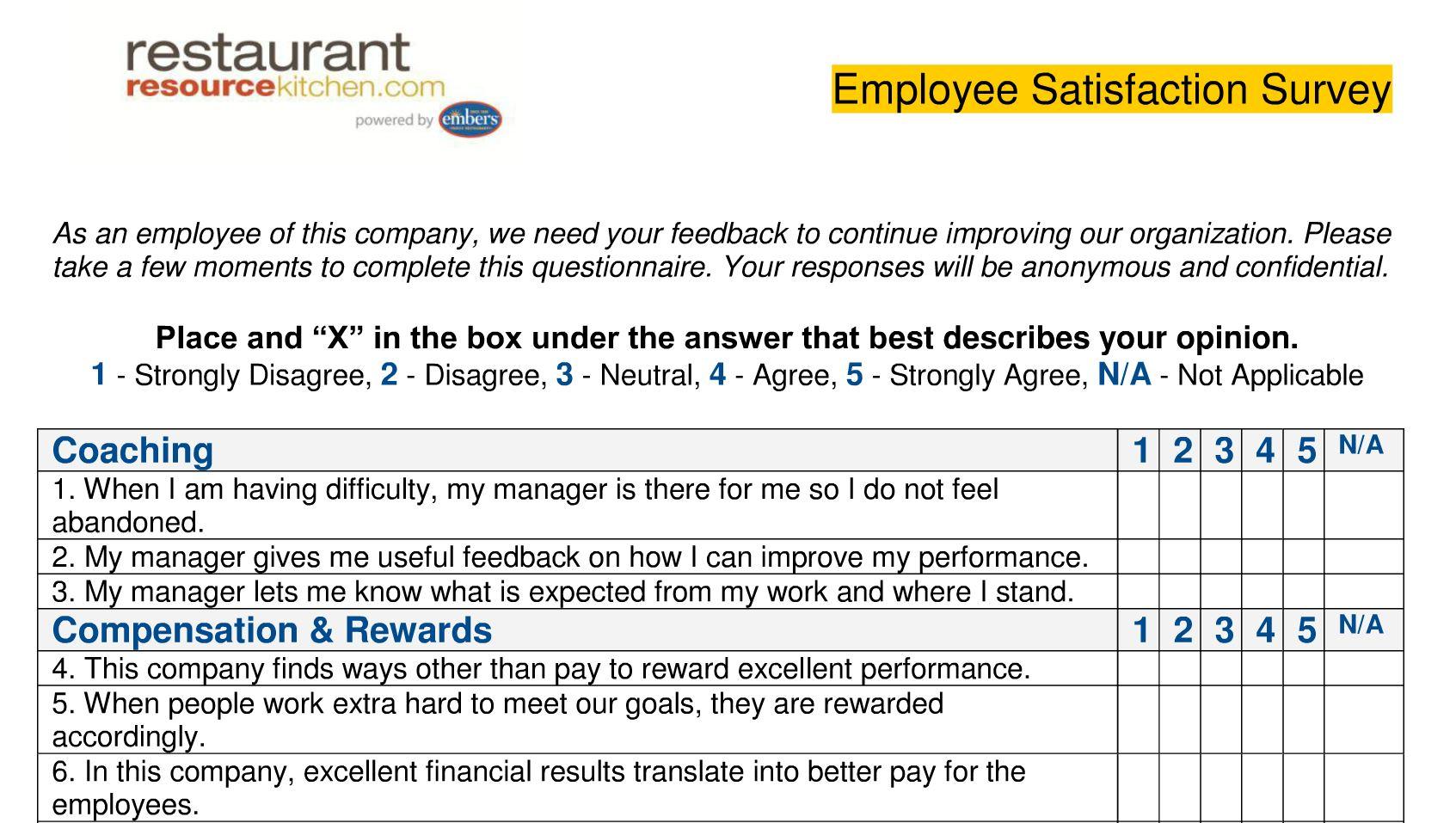 Performance magazine employee satisfaction survey