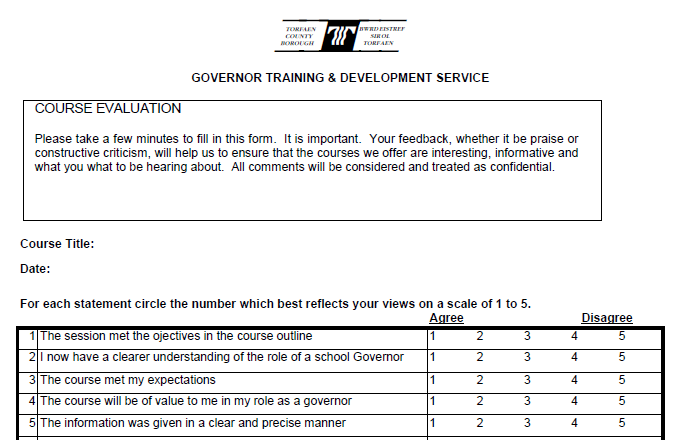 performance magazine training evaluation form torfaen